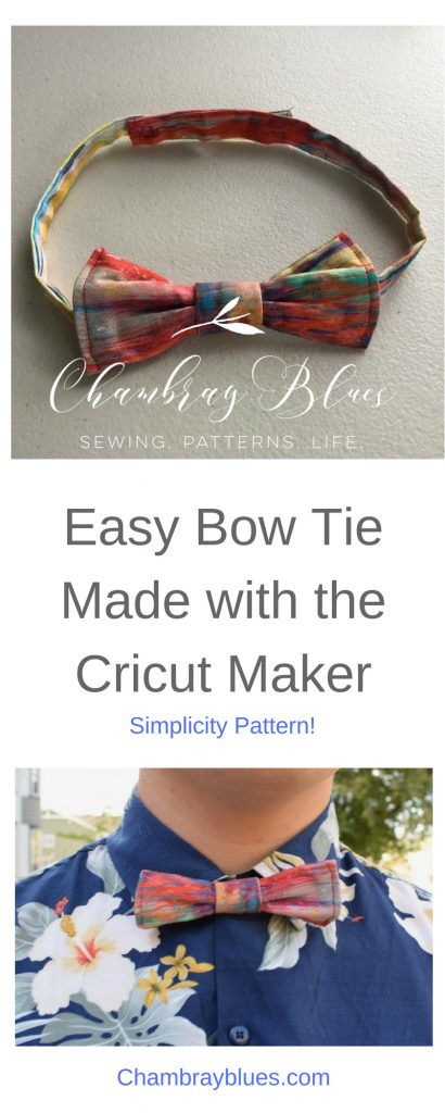 Simplicity Bow Tie with Cricut maker|Chambraybluesblog|www.chambrayblues.com