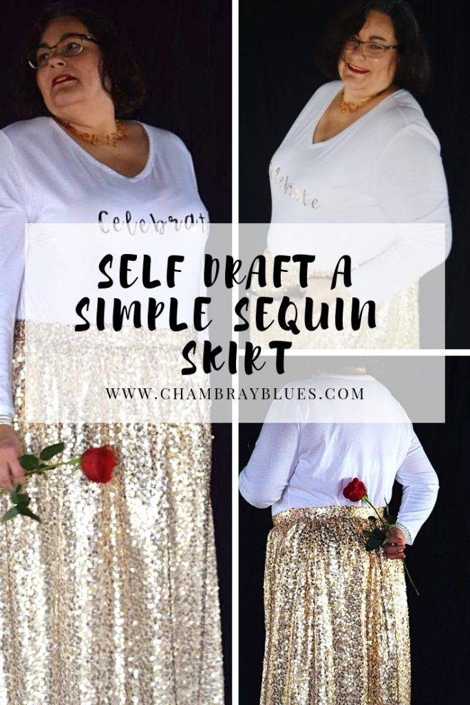 Self Draft a Simple Sequin skirt. You can work with sequins and make a beautiful skirt with a custom fit.